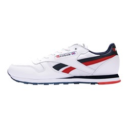 Кроссовки Reebok CL Leather Suede White Blue Red арт: AD388-4 (размеры 47-50)